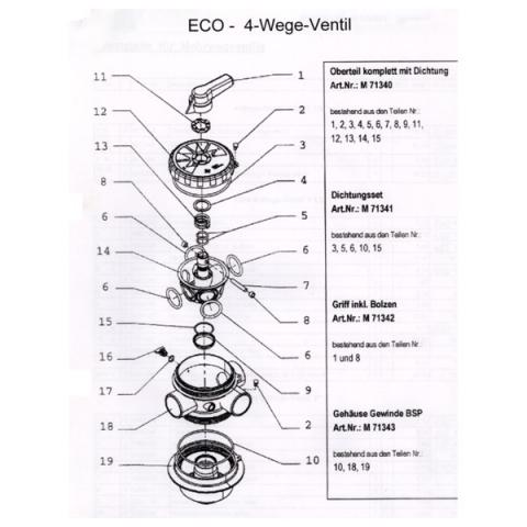 Ersatzteile eco 4 wege ventil dichtungsset holiday pool for Pool 6 wege ventil